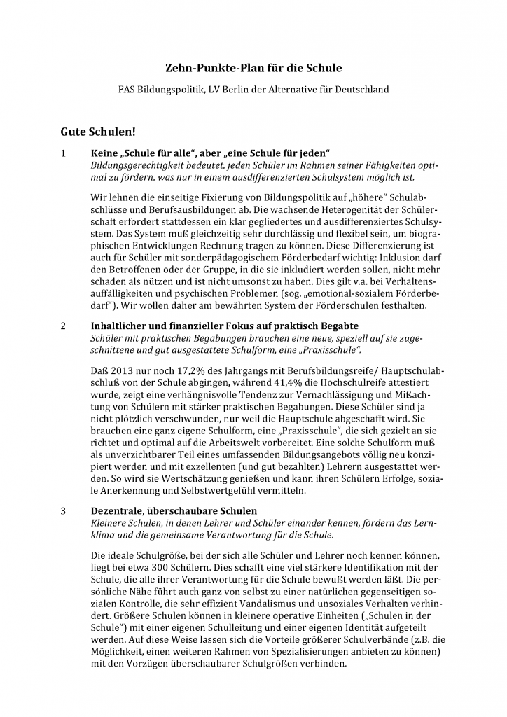 """""""Zehn-Punkte-Plan für die Schule"""" (""""FAS Bildungspolitik"""")"""